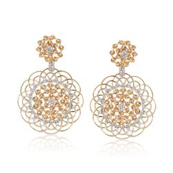 1.00 ct. t.w. Diamond Floral Double Drop Earrings in 14kt Yellow Gold, , default
