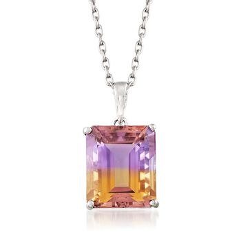 """5.50 Carat Emerald-Cut Ametrine Solitaire Necklace in Sterling Silver. 18"""", , default"""