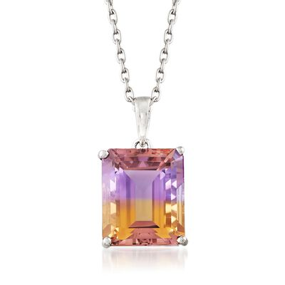 5.50 Carat Emerald-Cut Ametrine Solitaire Necklace in Sterling Silver, , default