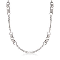 Italian Sterling Silver Long Mixed-Link Necklace, , default