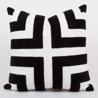 Set of 2 Black and White Terry Loop Throw Pillows, , default