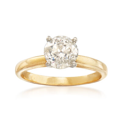 C. 1990 Vintage 1.30 Carat Diamond Solitaire Ring in 14kt Yellow Gold, , default