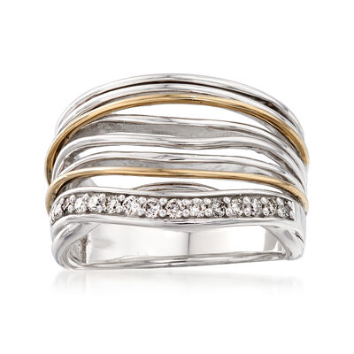 .21 ct. t.w. Diamond Multi-Row Wavy Ring in Sterling Silver and 14kt Yellow Gold, , default