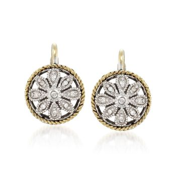 Andrea Candela Two-Tone Round Floral Earrings With Diamond Accents , , default