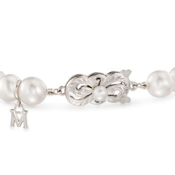 """Mikimoto """"Everyday"""" 7-7.5mm A+ Akoya and 10mm South Sea Pearl Bracelet with .40 ct. t.w. Diamonds in 18kt White Gold. 7"""", , default"""