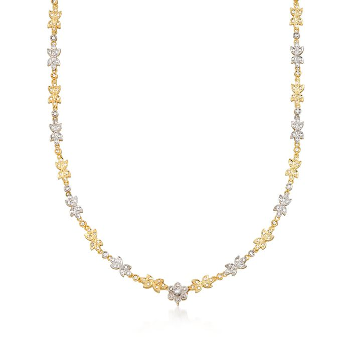 "C. 1990 Vintage 1.50 ct. t.w. Diamond Floral Necklace in 18kt Yellow Gold. 17"", , default"