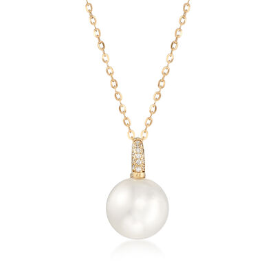 12.5-13mm Cultured South Sea Pearl and Diamond-Accented Pendant Necklace in 18kt Yellow Gold, , default
