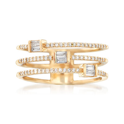 .31 ct. t.w. Diamond Triple Open Row Ring in 14kt Yellow Gold, , default