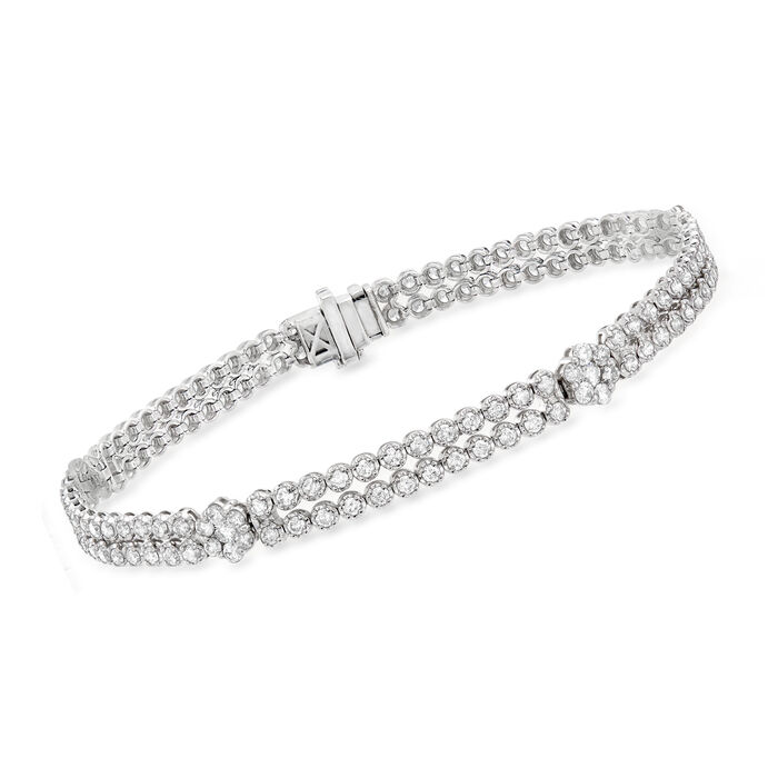 3.00 ct. t.w. Diamond Double-Row Floral Bracelet in 14kt White Gold