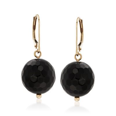 Black Onyx Bead Drop Earrings in 14kt Yellow Gold, , default