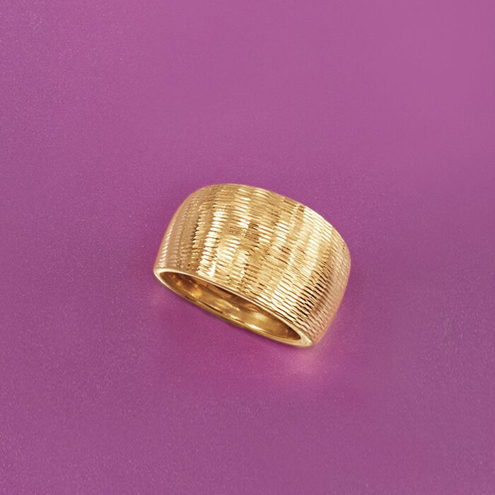 Italian 14kt Yellow Gold Diamond-Cut Wide-Band Ring