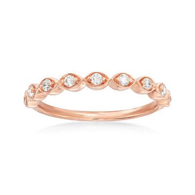Henri Daussi .17 ct. t.w. Diamond Wedding Ring in 14kt Rose Gold, , default