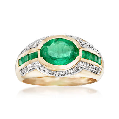2.30 ct. t.w. Emerald and .20 ct. t.w. Diamond Ring in 14kt Yellow Gold, , default