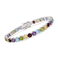"18.60 ct. t.w. Multi-Stone Tennis Bracelet in Sterling Silver. 7"", , default"