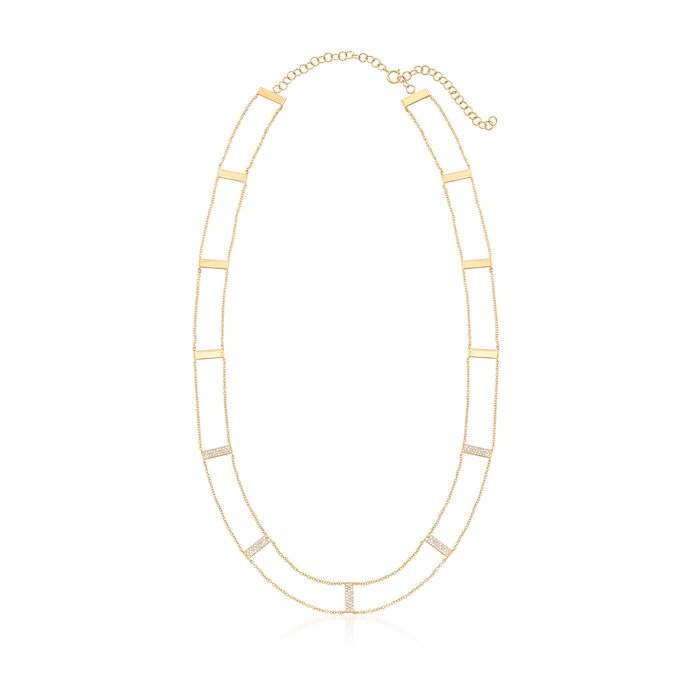 .43 ct. t.w. Diamond Bar Station Necklace in 14kt Yellow Gold