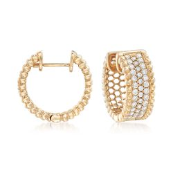 "1.00 ct. t.w. Diamond Beaded Hoop Earrings in 14kt Yellow Gold. 1/2"", , default"