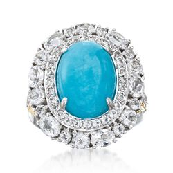 Amazonite and 2.76 ct. t.w. White Topaz Ring in Sterling Silver, , default