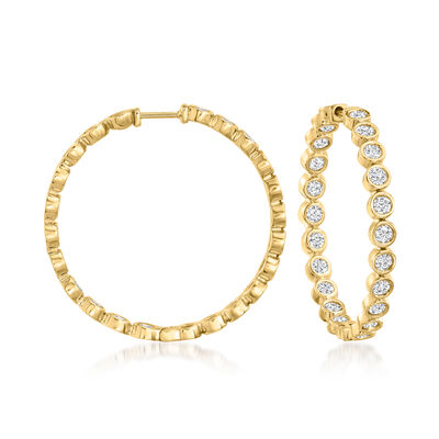 3.00 ct. t.w. Bezel-Set Diamond Inside-Outside Hoop Earrings in 18kt Gold Over Sterling