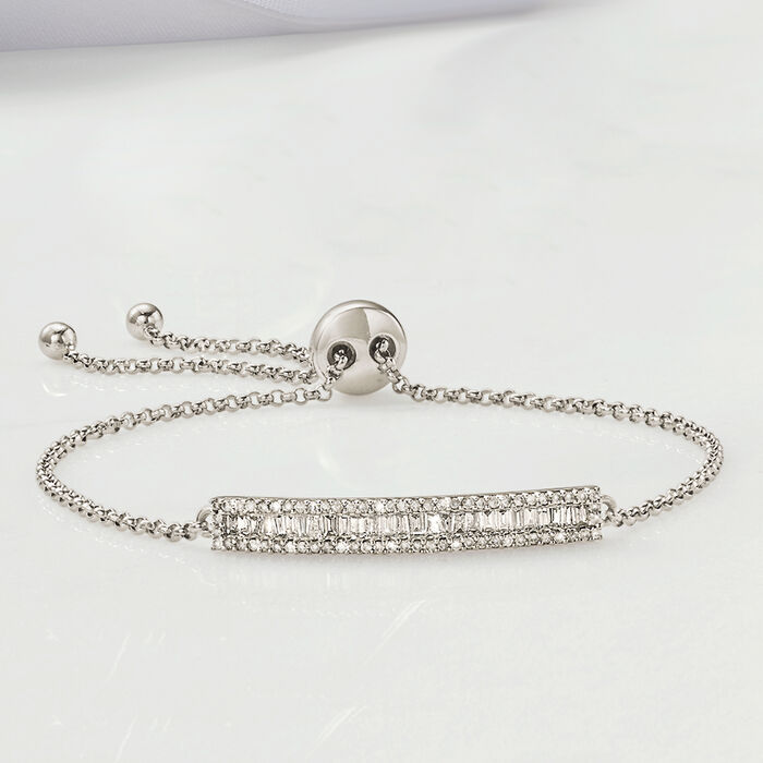.51 ct. t.w. Baguette and Round Diamond Bar Bolo Bracelet in 14kt White Gold