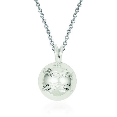Sterling Silver Diamond-Cut Baseball Charm Necklace. 18""