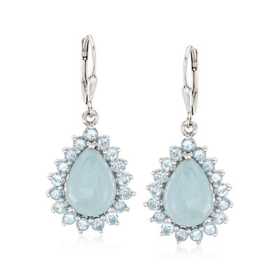 15.00 ct. t.w. Aquamarine Drop Earrings in Sterling Silver