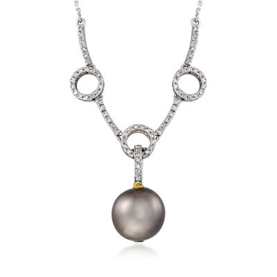 C. 1990 Vintage Black Cultured Pearl and .60 ct. t.w. Diamond Circle Station Necklace in 14kt White Gold, , default