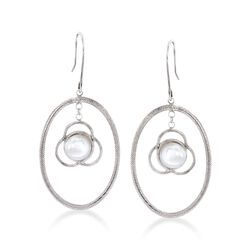 Italian 8mm Cultured Pearl Open Oval Drop Earrings in Sterling Silver, , default