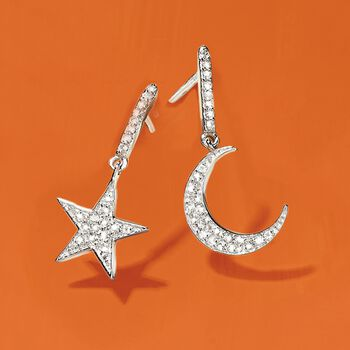 """.29 ct. t.w. White Topaz Star and Moon Mismatched Drop Earrings in Sterling Silver. 3/4"""""""