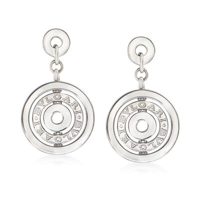 "C. 2000 Vintage Bulgari ""Astrale"" 18kt White Gold Clip-On Circle Drop Earrings"