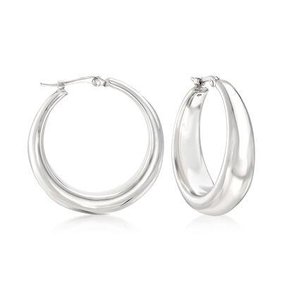 Sterling Silver Graduated Hoop Earrings, , default
