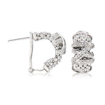 """Phillip Gavriel """"Popcorn"""" .16 ct. t.w. Diamond Hoop Earrings in Sterling Silver. 1/2"""""""