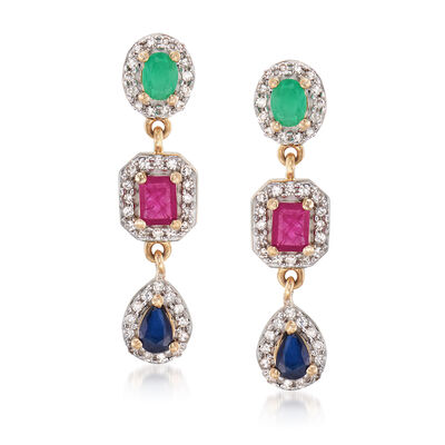1.70 ct. t.w. Multi-Gem Drop Earrings in 14kt Yellow Gold, , default