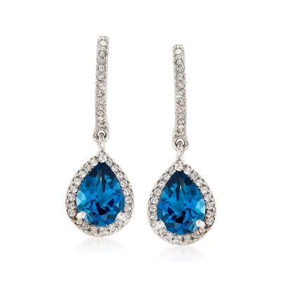 2.70 ct. t.w. London Blue and White Topaz Drop Earrings in Sterling Silver