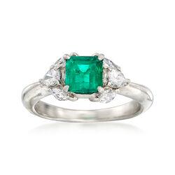 C. 1990 Vintage .80 Carat Emerald and .20 ct. t.w. Diamond Ring in Platinum. Size 4.5, , default