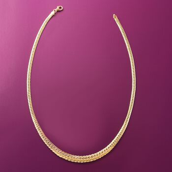 Italian 18kt Yellow Gold Graduated Cuban-Link Necklace
