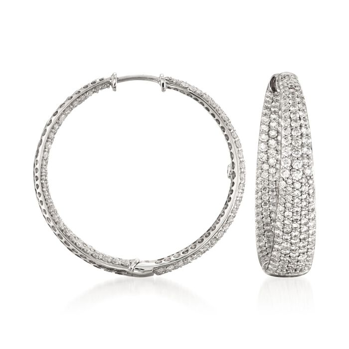 Roberto Coin 3.87 ct. t.w. Diamond Inside-Outside Hoop Earrings in 18kt White Gold
