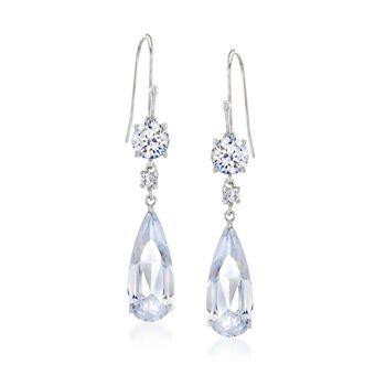 7.00 ct. t.w. Round and Teardrop CZ Drop Earrings in Sterling Silver , , default