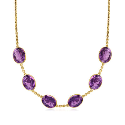 C. 1980 Vintage 66.00 ct. t.w. Amethyst Station Necklace in 18kt Yellow Gold