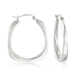 "Italian Sterling Silver Flat-Edged Hoop Earrings. 1 1/4"", , default"
