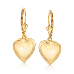 14kt Yellow Gold Puffed Heart Drop Earrings, , default