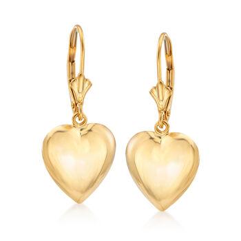 14kt Yellow Gold Puffed Heart Drop Earrings , , default