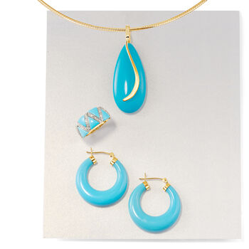 "Turquoise Hoop Earrings in 14kt Yellow Gold. 1 1/8"""