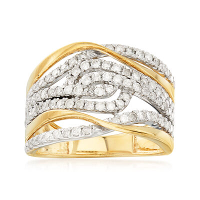 1.00 ct. t.w. Diamond Open-Swirl Ring in 18kt Gold Over Sterling