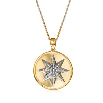 .20 ct. t.w. Diamond Starburst Necklace in Sterling Silver and 18kt Gold Over Sterling, , default