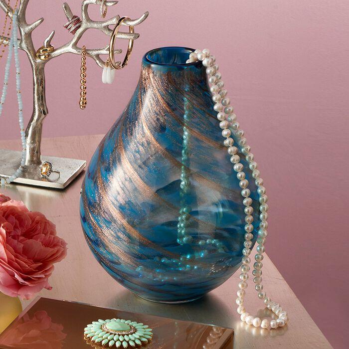 "Lenox ""Seaview Swirl"" Aqua and Golden Art Glass Vase, , default"
