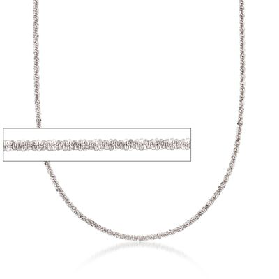 2.4mm Sterling Silver Adjustable Slider Diamond-Cut Crisscross Chain Necklace
