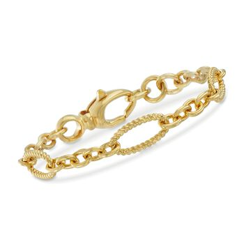 """Italian Andiamo 14kt Yellow Gold Twisted Oval and Circle-Link Bracelet. 7.5"""", , default"""
