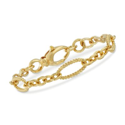 Italian Andiamo 14kt Yellow Gold Twisted Oval and Circle-Link Bracelet, , default