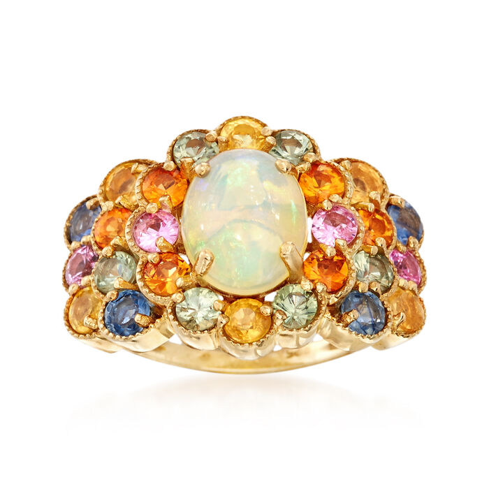 Opal and 3.10 ct. t.w. Multicolored Sapphire Cluster Ring in 14kt Gold Over Sterling