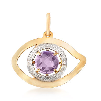 .70 Carat Amethyst Eye Pendant in 14kt Yellow Gold